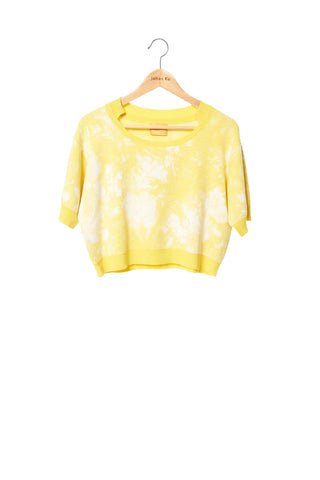Elliot Collection- Tie Dye Image Knitted Jacquard Short Top - Yellow