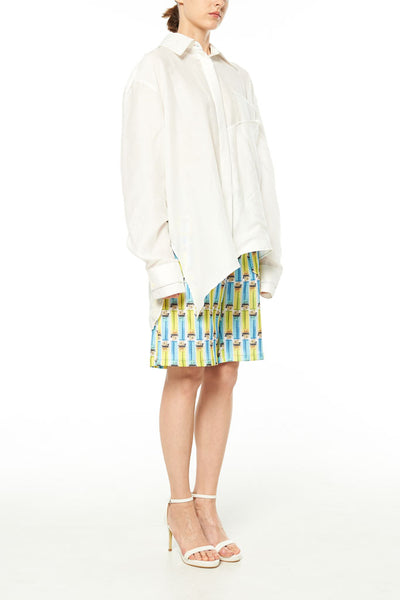 Elliot Collection- Rainbow Colour Stitches Asymmetric Details Oversize Shirt