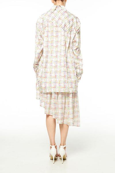 Elliot Collection- Lighter Plaid Print Asymmetric Details Oversize Shirt