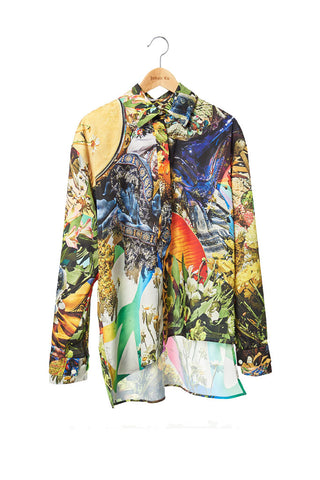 Elliot Collection- Woodstock Image Print Asymmetric Details Oversize Shirt