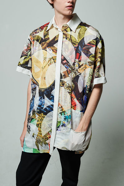 Elliot Collection- Woodstock Inspired Print Asymmetric Details Oversize Shirt