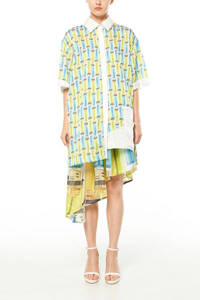 Elliot Collection- Lighter Print Asymmetric Details Oversize Shirt