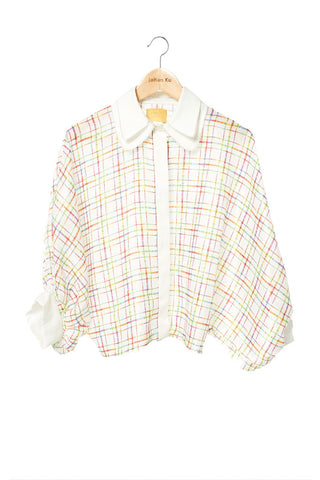 Elliot Collection- Lighter Plaid Oversize Blouse
