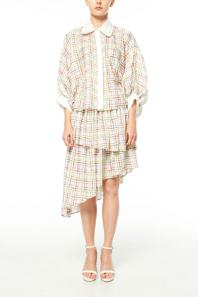 Elliot Collection- Lighter Plaid Print Asymmetric Skirt
