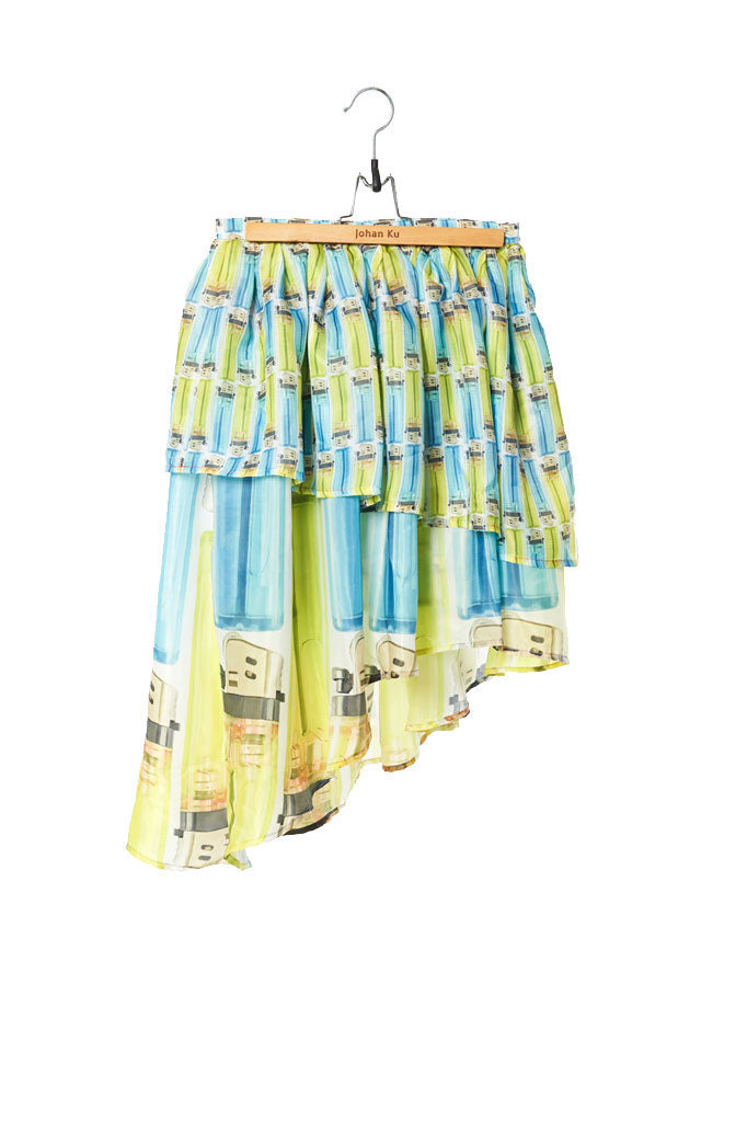 Elliot Collection- Lighter Print Asymmetric Skirt