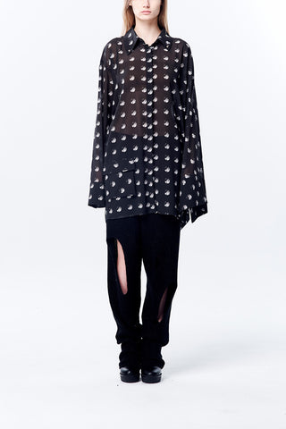 Asymmetry Shape Rivets Dots Printed Oversize Chiffon Long Shirt