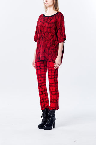 Plait Pattern Knitted Legging in Red