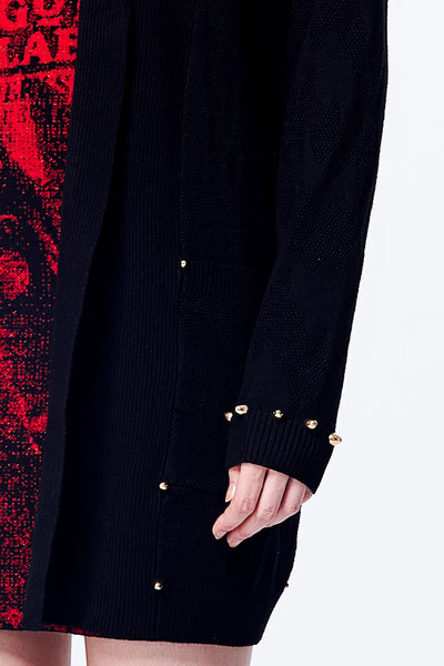 Bullet Rivet Detailed Knitted Long Cardigan