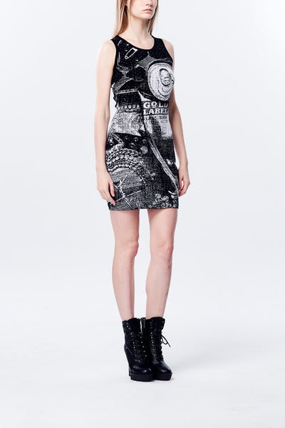 British Punk Image Jacquard Mini Dress- Black/White
