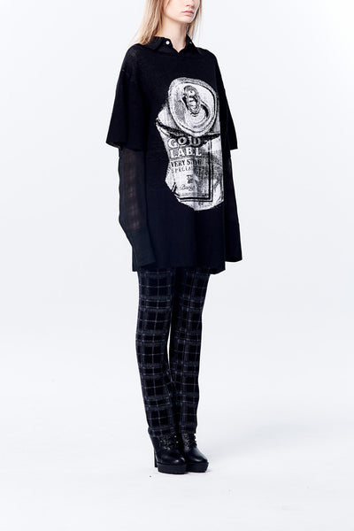 Oversized Long Knitted Top with Knitted Jacquard Crush Can Pattern