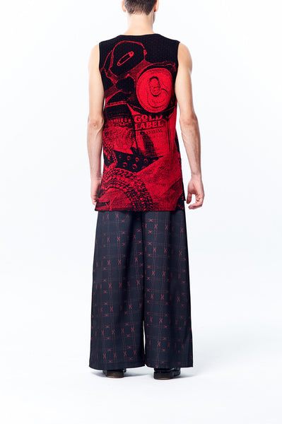 Knitted Jacquard Long Vest Top - Black/Red