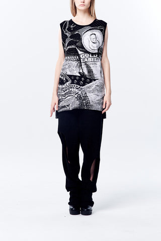 Knitted Jacquard Long Vest Top - Black/White