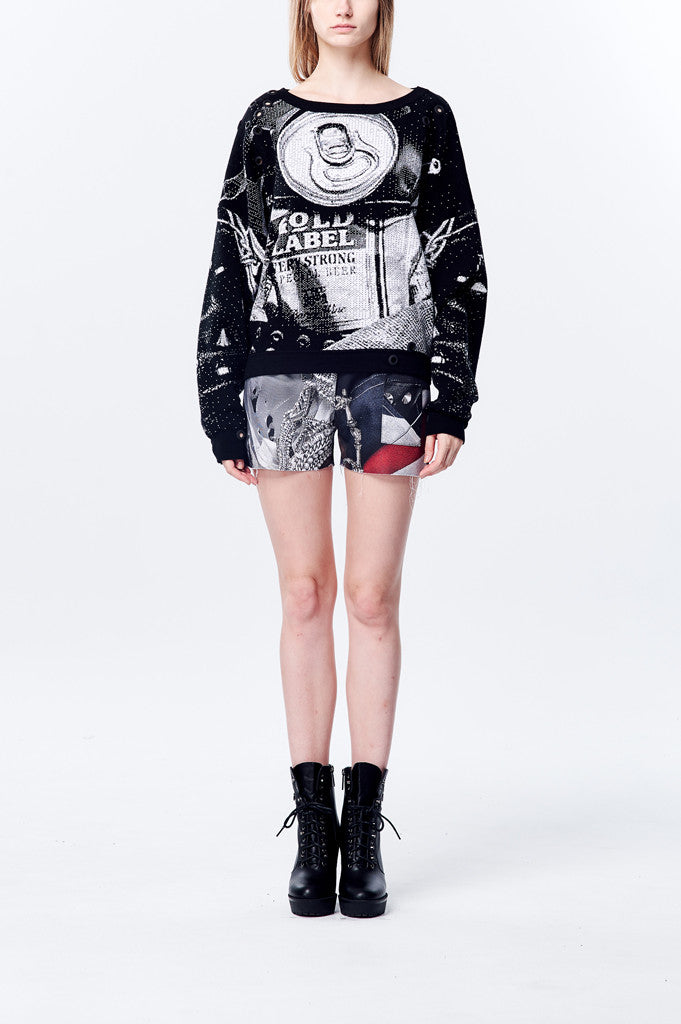 Oversize Knitted Crash Can Pattern Jacquard Long Sleeve Top - Black/White