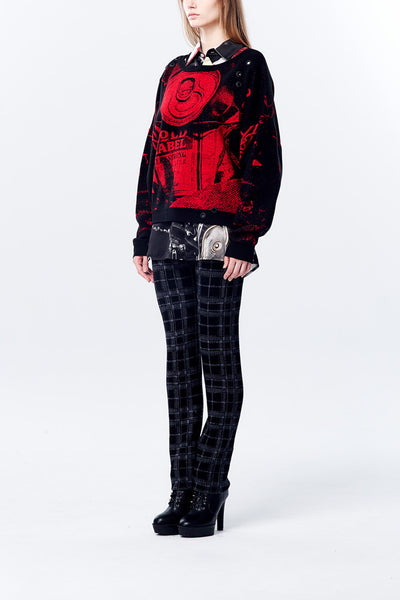 Oversize Knitted Crash Can Pattern Jacquard Long Sleeve Top - Black/Red