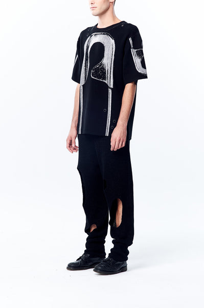 Oversized Long Knitted Top with Knitted Jacquard Chunky Safety Pin Pattern - Johan Ku Shop