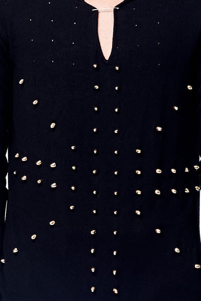 Bullet Rivet Long Sleeve Dots Hole Detail Knitted Top