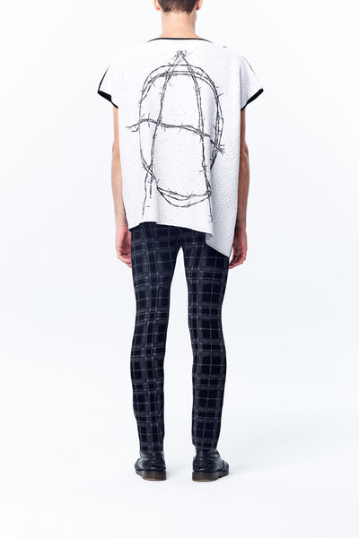 Oversize Knitted Anarchy is Order Jacquard Asymmetry Vest Top