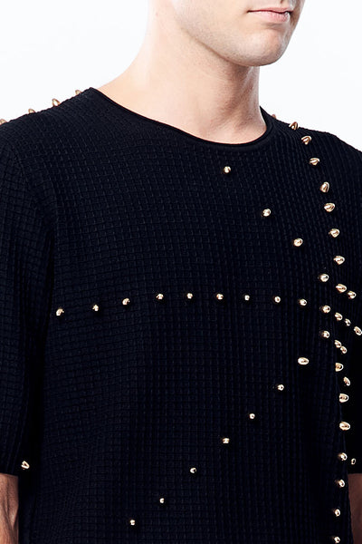 Bullet Rivet Detail Short Sleeve Knitted Top