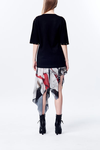 British Punk Remix Printed Asymmetry Scarf skirt