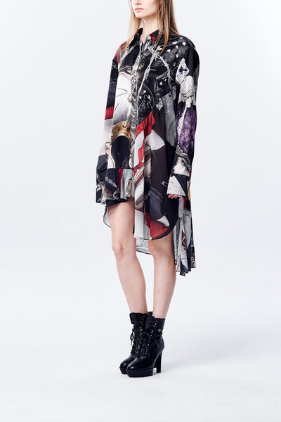 Asymmetry Shape British Punk Printed Oversize Shirt
