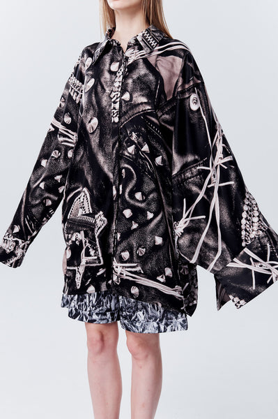 Asymmetry Shape Punk Image Printed Oversize Satin Long Shirt