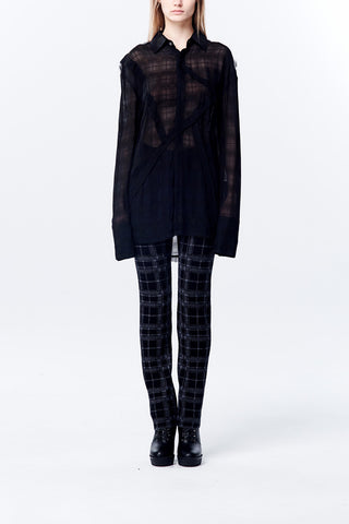 Raw Edge Patchwork See Through Plait Oversize Shirt