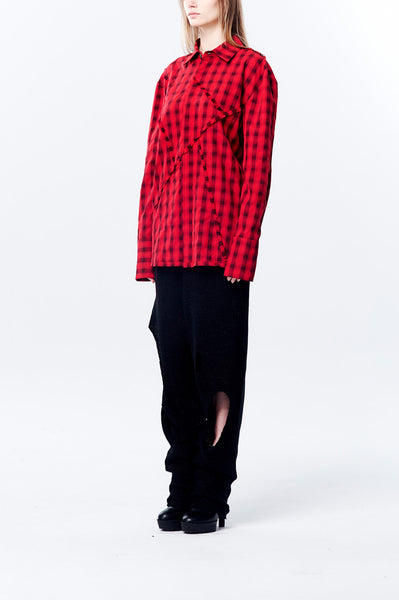 Raw Edge Patchwork Plait Oversize Shirt