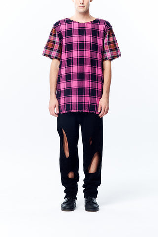 Four Ways Raw Edge Details Oversize Plaid Top