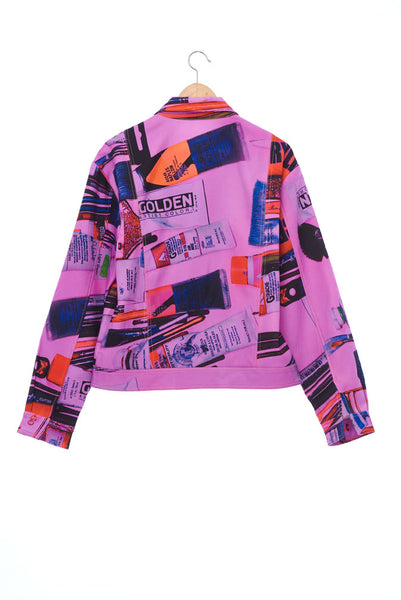 """The Painters"" Collection- Painting Tools Pink Printed Jacket"