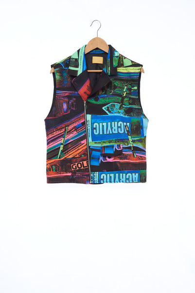 """The Painters"" Collection- Painting Tools Dark POP Printed Sleeveless Biker Jacket"