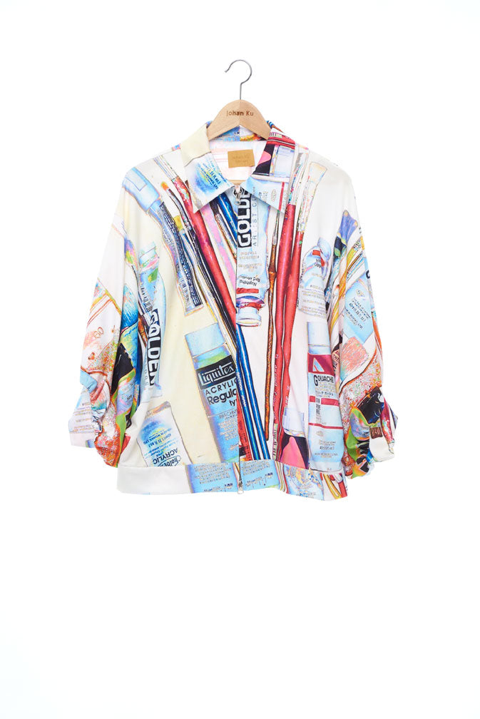"""The Painters"" Collection- Painting Tools White POP Printed Elastic Jersey 2/3 Sleeve Volume Coat"