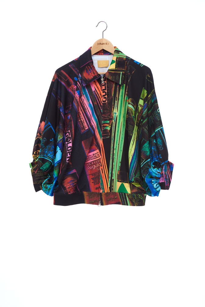 """The Painters"" Collection- Painting Tools Dark POP Printed Elastic Jersey 2/3 Sleeve Volume Coat"