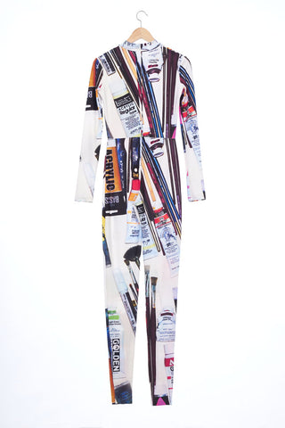 """The Painters"" Collection- Painting Tools White Printed Elastic Jersey Catsuit"