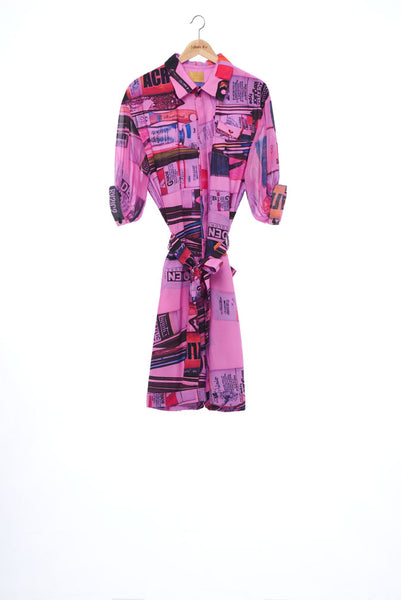 """The Painters"" Collection- Painting Tools Pink Printed 1/2 Sleeve Playsuit"