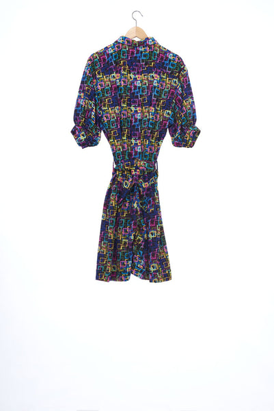 """The Painters"" Collection- Crayon Squares Dark Printed 1/2 Sleeve Playsuit"