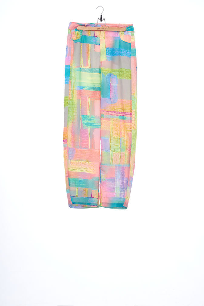 """The Painters"" Collection- Abstract Paint Printed Wide Trousers"