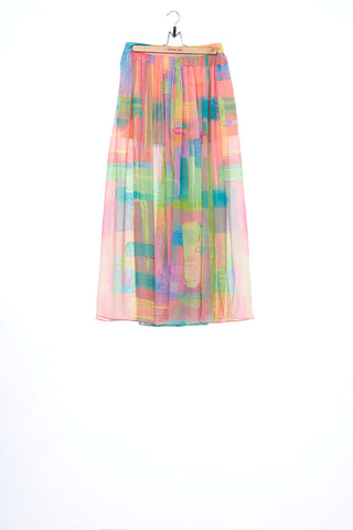 """The Painters"" Collection- Abstract Paint Printed Chiffon Skirt-like Pants"