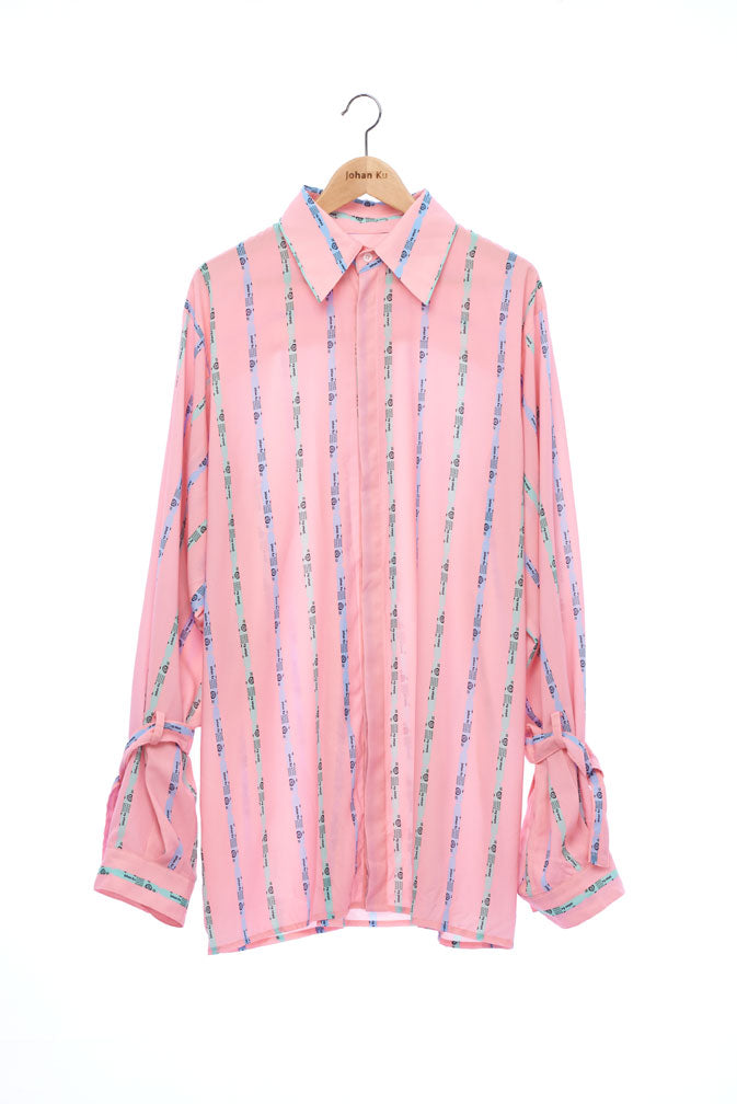 """The Painters"" Collection- Crayon Stripes Pink Printed Wide Sleeve with Bandage Details Shirt"