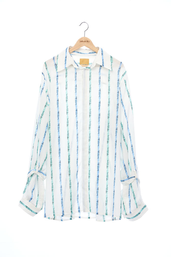 """The Painters"" Collection- Crayon Stripes White Printed Wide Sleeve with Bandage Details Shirt"