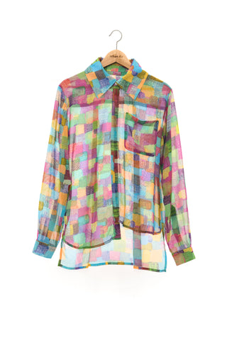 """The Painters"" Collection- Square Purple Printed Chiffon Asymmetry Details Shirt"