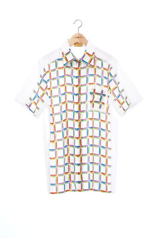 """The Painters"" Collection- Crayon Check Printed /  White Double Pocket Details Short Sleeve Shirt"