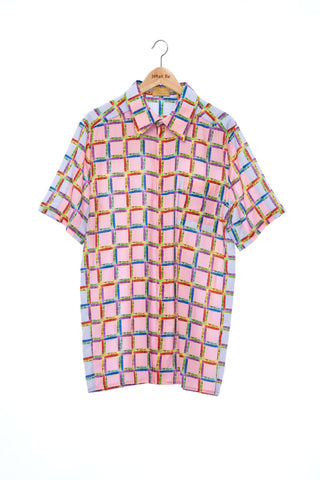 """The Painters"" Collection- Crayon Check Pink and Blue Printed Double Pocket Details Short Sleeve Shirt"