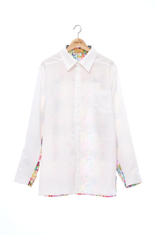 """The Painters"" Collection- White /  Crayon Square Printed Shirt"