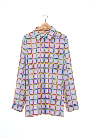 """The Painters"" Collection- Crayon Check Blue and Pink Printed Shirt"