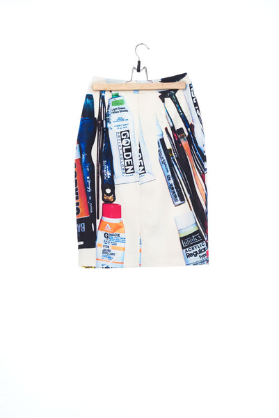 """The Painters"" Collection- Painting Tools White Printed Pancel Skirt"
