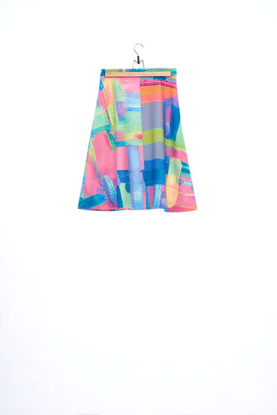 """The Painters"" Collection- Abstract Paint Printed A-Line Skirt"