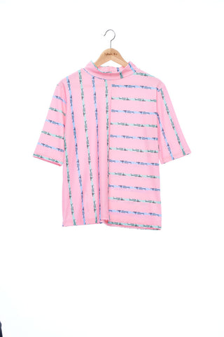 """The Painters"" Collection- Crayon Stripes Pink Printed Elastic Short Sleeve Top"