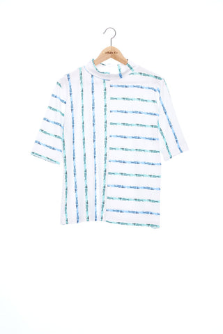 """The Painters"" Collection- Crayon Stripes White Printed Elastic Jersey Short Sleeve Top"