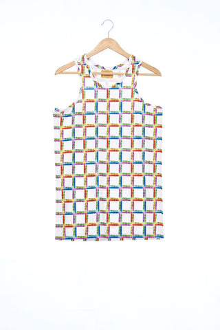 """The Painters"" Collection- Crayon Stripes White Printed Elastic Jersey Tank Top"
