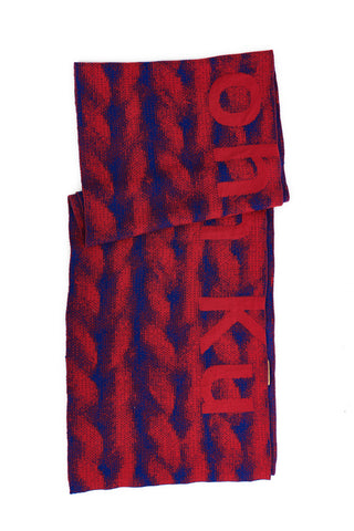 Sean Collection- Chunky Knitting Graphic Jacquard Long Scarf -Red/Blue